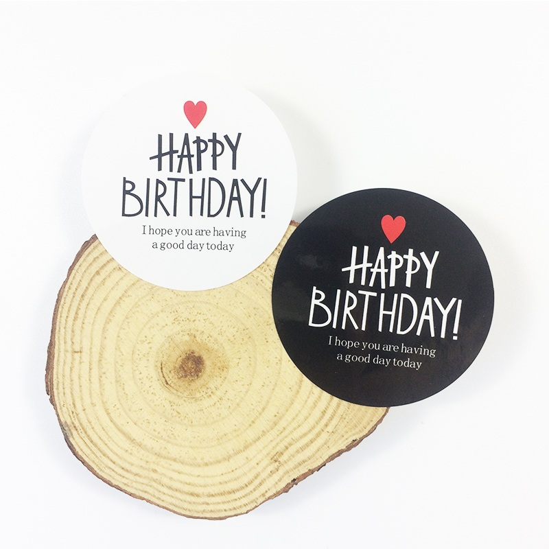 80Pcs/lot Kraft Paper Labels Envelopes Stickers HAPPY BIRTHDAY Slogan Seal Gift Packaging For Birthday Party