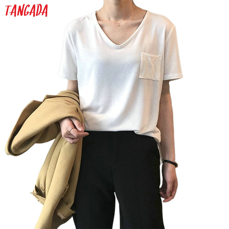 Tangada Women Elegant Solid T-shirt For Summer 2020 Female Short Sleeve Ladies Casual Tee Shirt Top High Quality ASF54