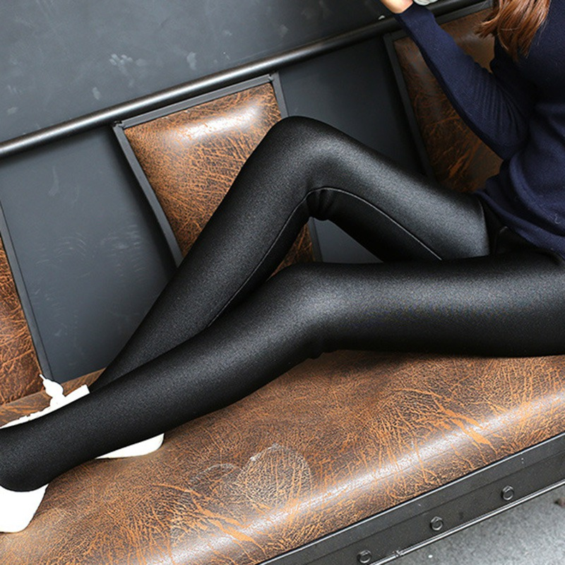 Fashion Women Shiny Leggings New Style Thin Ankle Length Black Leggings Stretchy High Waist Satin Basic Leggings