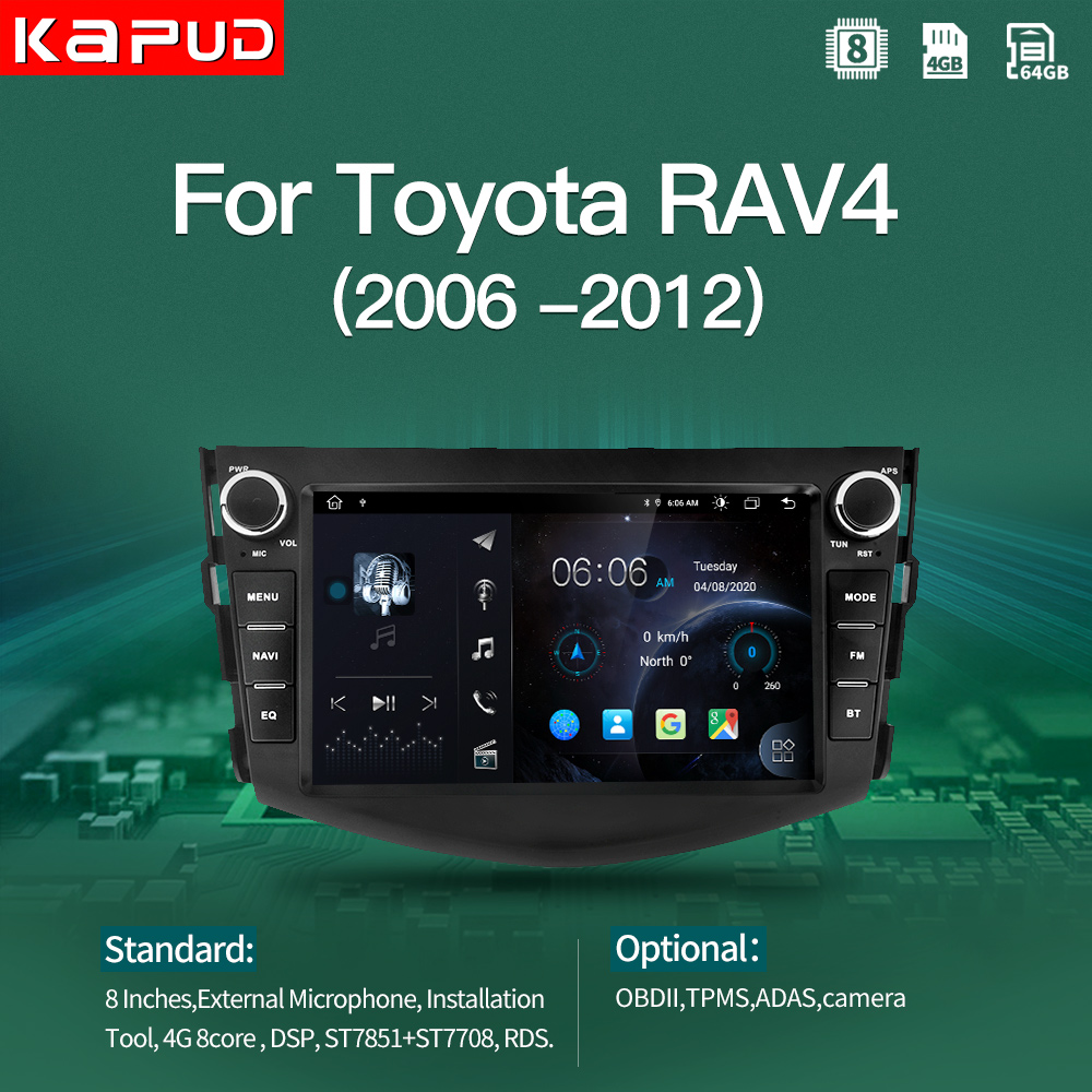 Kapud-Radio Multimedia con GPS para coche, Radio con reproductor, Android 10,0, 8 pulgadas, BT, GPS, Wifi, DSP, Usb, para Toyota RAV4, años 2006 a 2007