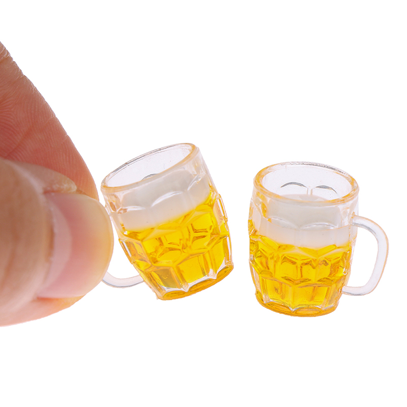 1/12 Miniature Resin Dollhouse Toys for Scene Model Scale Dollhouse Accessories Mini Beer Cup Mug Kid Toy