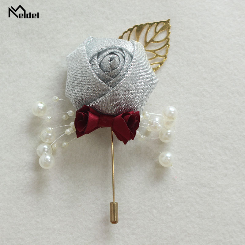 Meldel Wedding Boutonniere Prom Corsage Ceremony Flower Men Brooch Pins White Wedding Boutonniere Groom Buttonhole Ribbon Flower