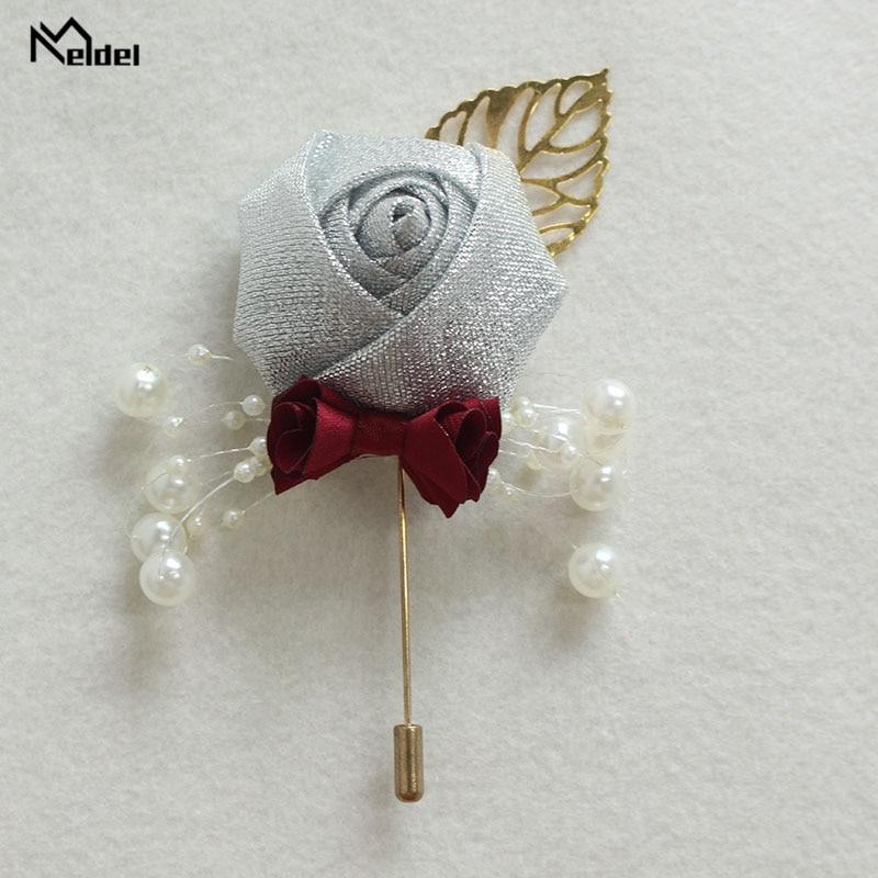 Meldel Wedding Boutonniere Prom Corsage Ceremony Flower Men Brooch Pins White Wedding Boutonniere Groom Buttonhole Ribbon Flower