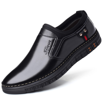 new design men casual business office formal dresses breathable cow leather shoes flats platform slip-on shoe gentleman loafers