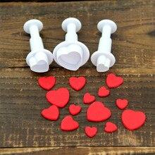 3Pcs/Set Kitchen Accessories Heart Cake Decorating Tools Cake Sugar Sugarcraft Plunger Cookie Cutter Diy Mold Christmas Baking