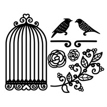 YaMinSanNiO Cage Flower Bird Dies Metal Cutting for Card Making Scrapbooking Embossing Cuts Craft New 2019