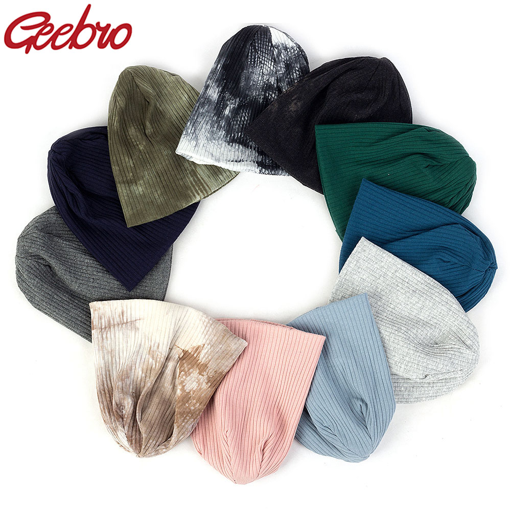 Geebro Cute Newborn Baby Girls Ribbed Cotton Beanies Hats Kids Childs Autumn Winter Knitted Tie Dye Hat Caps For New Born Gifts