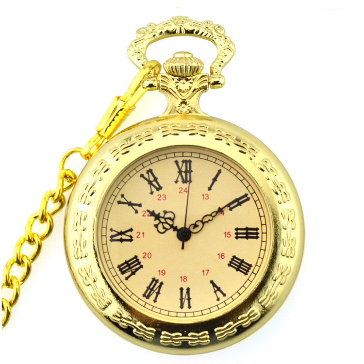 Unique Men Women Vintage Pocket Watch Roman Numerals Fob Watch Golden Necklace Pendant Clock with Chain Pocket& Fob Watch
