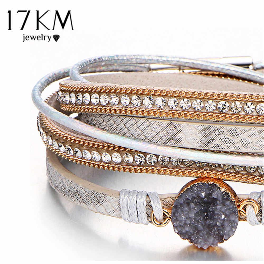 17KM Vintage kamień kryształ Charm bransoletki i bransoletka dla kobiety mężczyźni moda kobieta ręcznie robione wielowarstwowe skórzane Druzy bransoletka