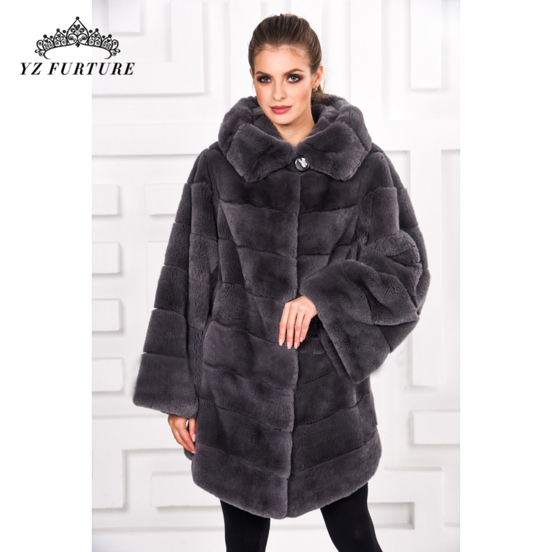 Real-Fur-Coats Hood Natural Winter Women Luxury Female Thick with Warm Outwear RB-086 title=
