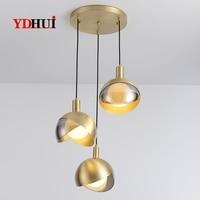 Mini lustre tout en cuivre  lampe de table d'art légère et luxueuse  lustre de salle à manger de personnalité créative moderne simple  trois|Lampes à suspension| |  -