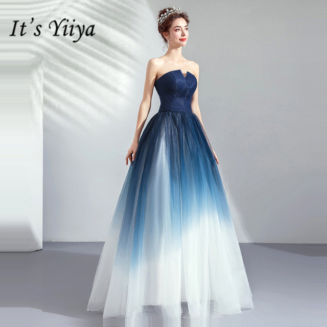 It's YiiYa Prom Gowns Blue Sleeveless Strapless A-Line Floor Length Long Party Dress Custom Plus Size Prom Dresses 2019 E263 3