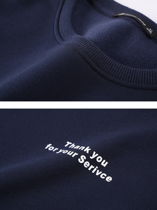Image 5 - פיוניר מחנה 2020 סתיו נים גברים מקרית צוות צוואר כהה כחול מכתב דפוס פס צמר כותנה סווטשירט זכר AWY902241