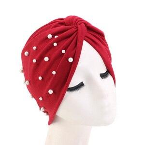 Image 4 - New Muslim Women Pearl Beading Elastic Turban Hat Cancer Cap Head Wrap cotton twist Chemo Cap Beanie Hijab Caps Headwear