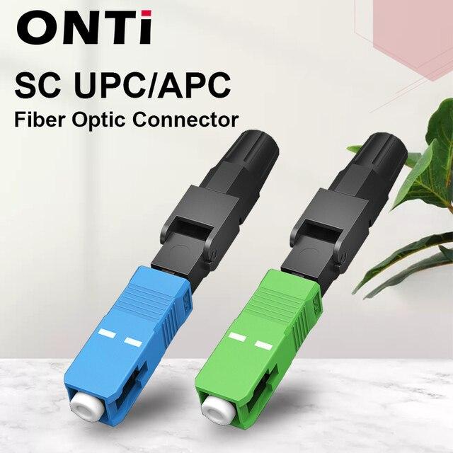 ONTi 200pcs SC UPC Single Mode Fiber Optic Fast Connector SC APC FTTH SC Quick Connector SC Adapter Field Assembly
