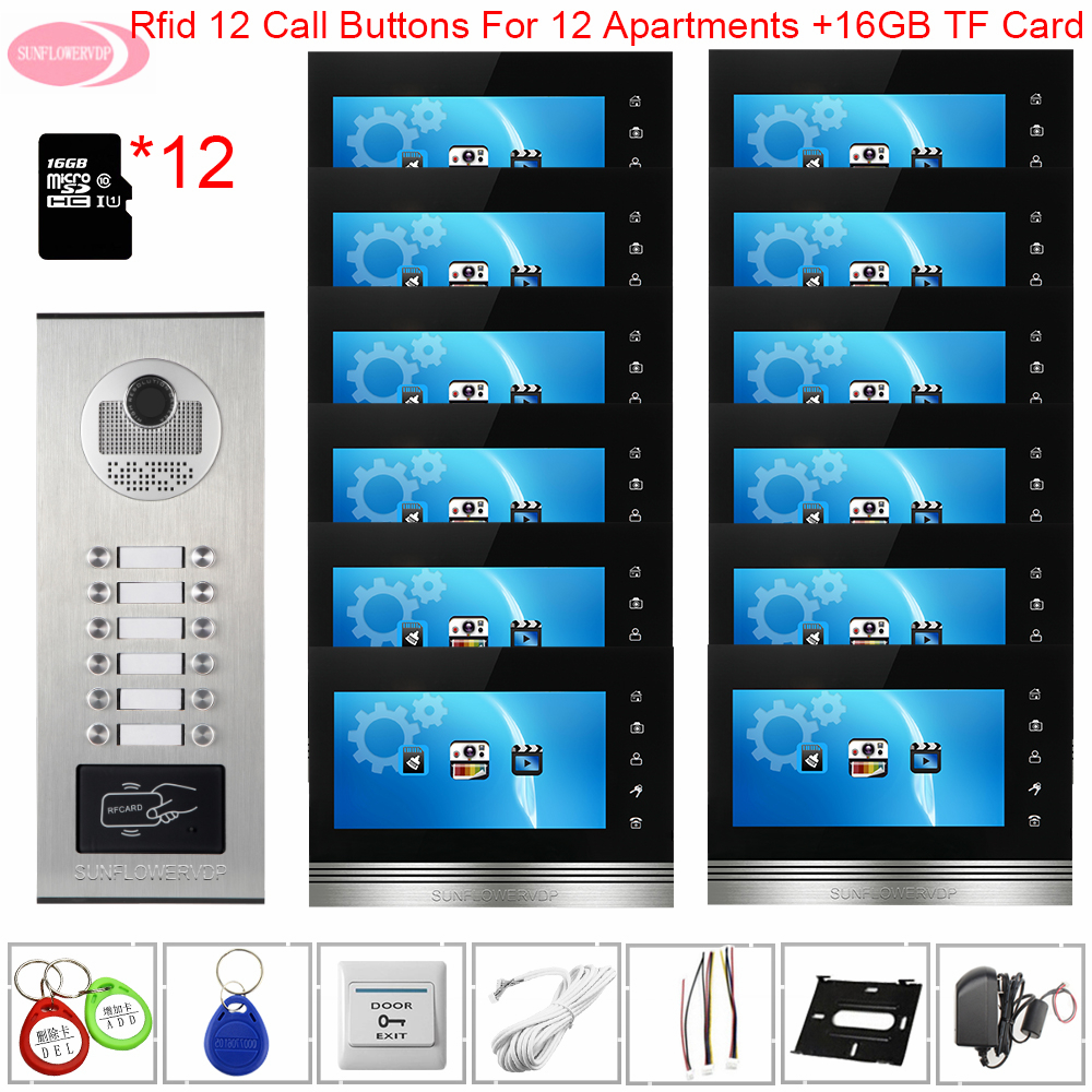 For 12 Apartments Video Intercom With Recording+16 GB TF Card Door Station For Video IntercomAccess Control Wired Video Doorbell