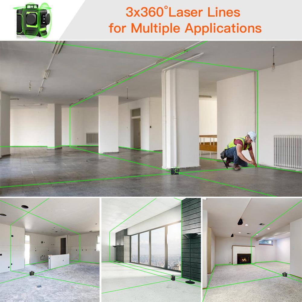 12 linien 3D Grün Niveau Laser Ebene Detektor Nivel Laser 360 Autonivelante Instrument Lazer Meter Für Bau Werkzeug