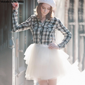 Image 2 - Fashion Womens White Mini Tulle Skirt Fairy Black Secret saia Voile Bouffant Puffy Skirt Short Tutu Skirts Custom Made