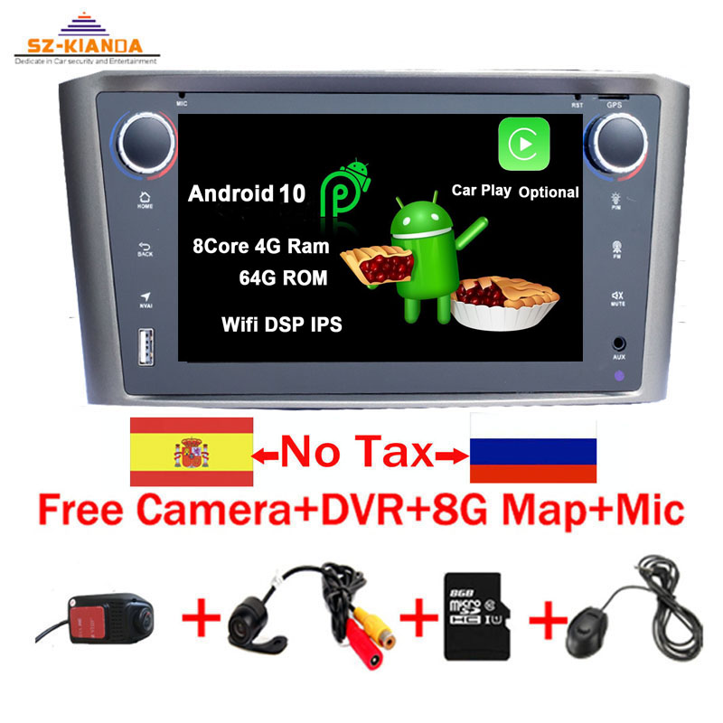 In Stock <font><b>Android</b></font> 10.0 Car Multimedia Player For <font><b>Toyota</b></font> Avensis <font><b>T25</b></font> 2003-2008 Wifi Bluetooth Radio DVD GPS Navigation Video audio image