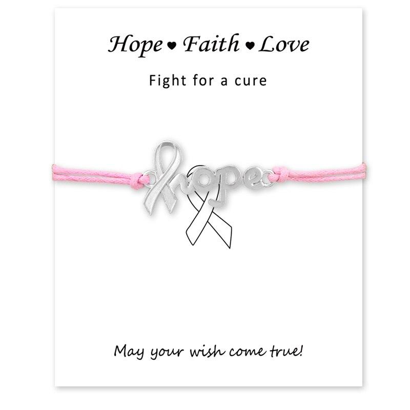 Lutador Breast Cancer Awareness Pink Ribbon Cartão Cartão de Prata Antigo Charme Pulseiras Mulheres Homens Jóias Cores Personalizadas