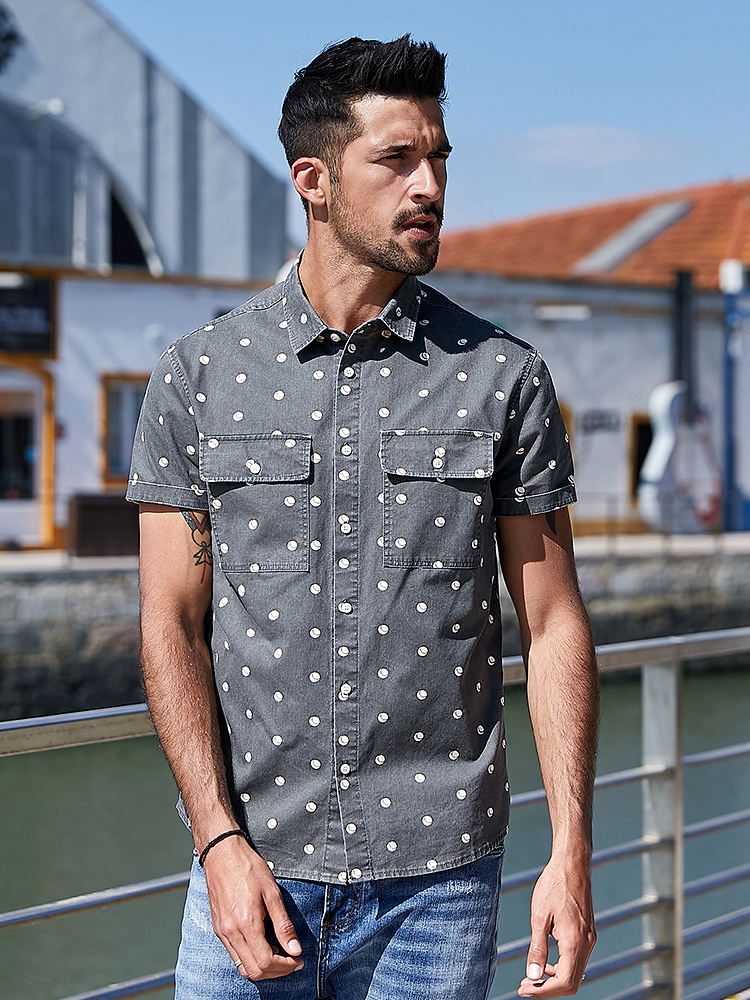 KUEGOU Summer Men Shirt Top Short-Sleeve Slim Printing Plus-Size Fashion Cotton Polka-Dot