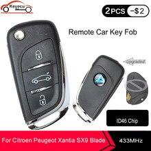 Keyecu Verbeterde Flip Afstandsbediening 3 Button Fob 434Mhz ID46 Chip Voor Citroen Peugeot Xantia SX9 Blade Autosleutel