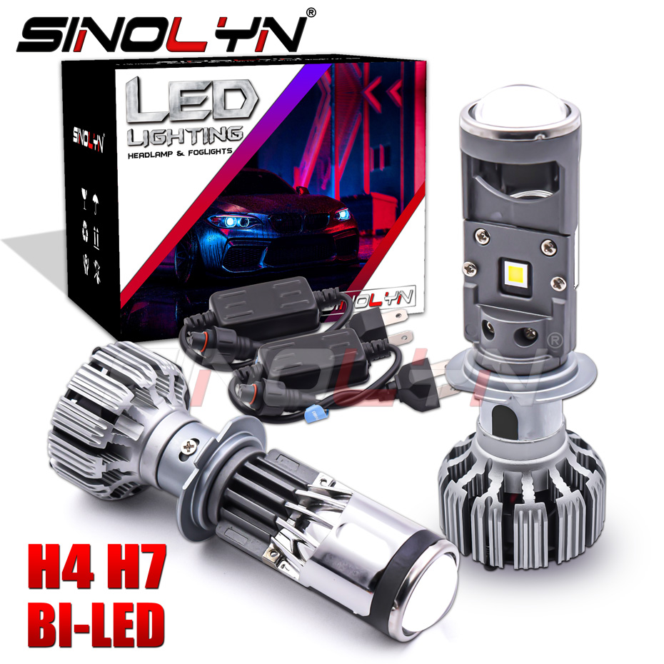 Sinolyn H4 <font><b>H7</b></font> <font><b>Led</b></font> 55w Bi <font><b>Led</b></font> <font><b>Lens</b></font> Headlight Projector Mini 1.5 Inch <font><b>Lens</b></font> For Motorcycle Headlight 5500k Car Accessories Tuning image