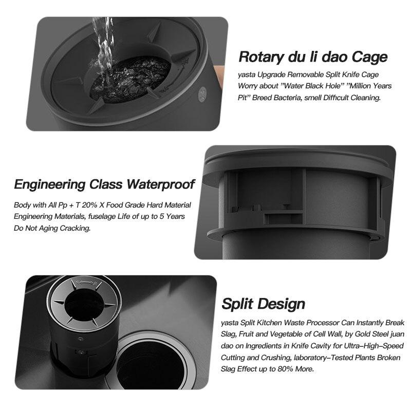 20000R/M мусорный Комбайн кухонный домашний полностью автоматический мокрый высокоскоростной дренаж из нержавеющей стали измельчитель мусора 5
