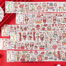 цена Girlhood Series Cartoon Character Color Washi Masking Tape Release Paper Stickers Scrapbooking Stationery Decorative Girl Tape онлайн в 2017 году