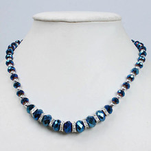 Free Shipping!Wholesale 5pcs/lot Fashion Blue Crystal Glass Faceted Beads Necklace With Magnetic Clasp 19 201