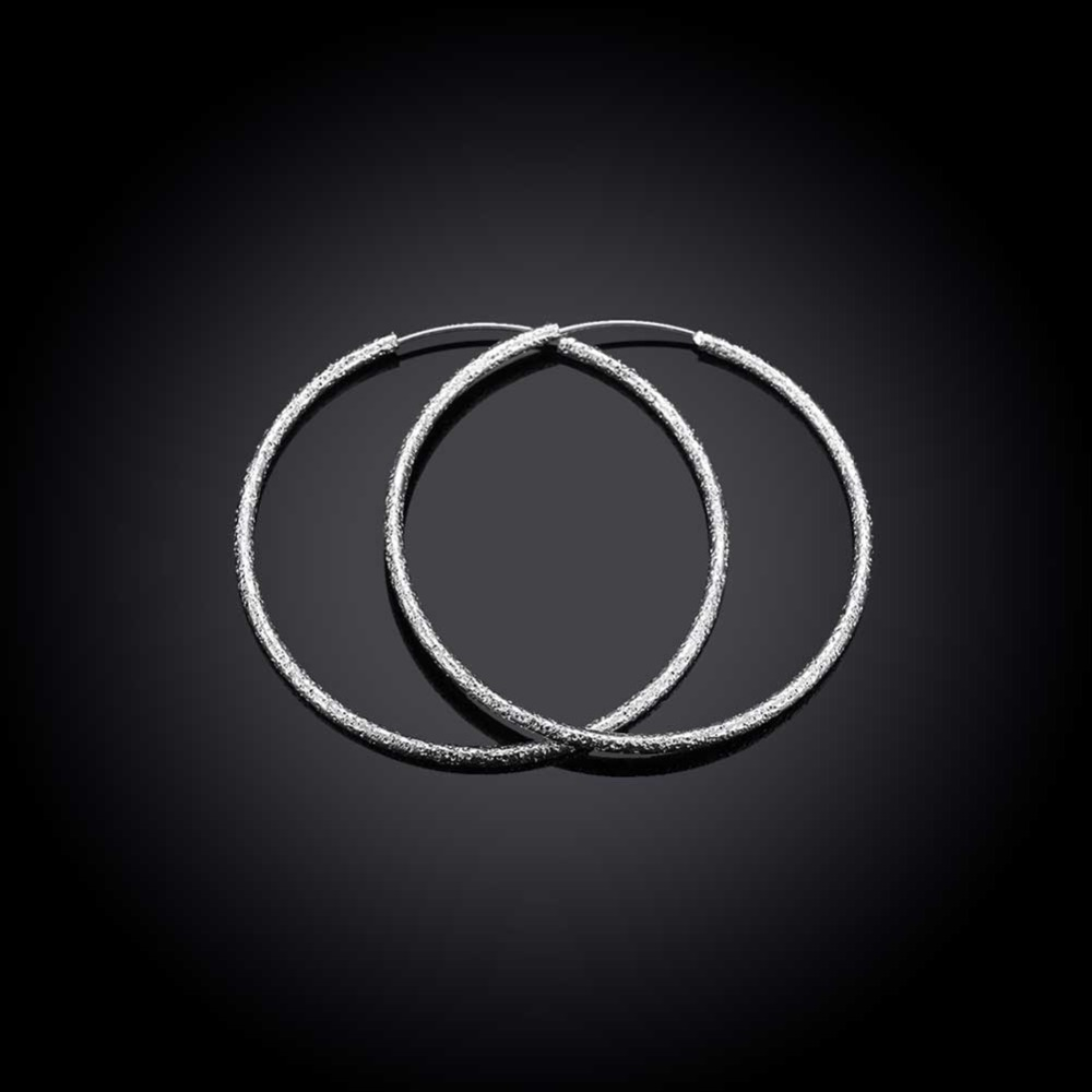 Free Shipping 925 Sterling Silver Simple Scrub 3.5cm/5.0cm Hoop Earrings for Women Trendy Jewelry Earrings