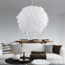 Lámpara de techo de plumas, creativa, moderna, Blanca, para dormitorio, estudio, colgante, dormitorio, sala de estar