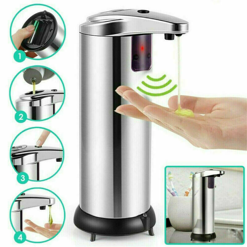 250ml Stainless Steel Automatic Soap Dispenser Handsfree Automatic IR Smart Sensor Touchless Soap Liquid Dispenser|Liquid Soap Dispensers|Home Improvement - title=