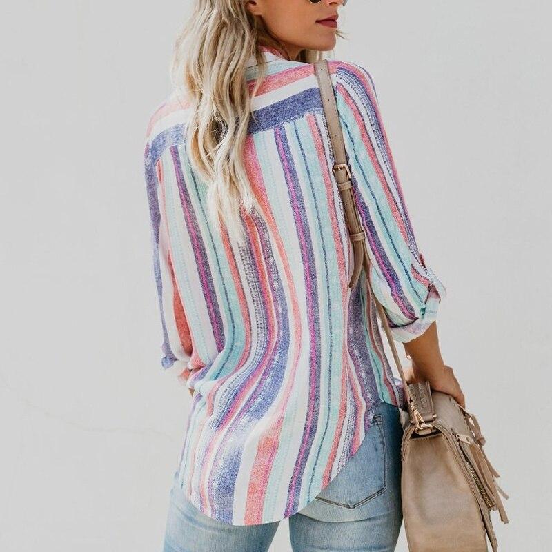 new Ladies Autumn New American fashion 2020 Color Stripes Large Women Blouse fashion 2020 cute Female Womens Top Shirt xxl