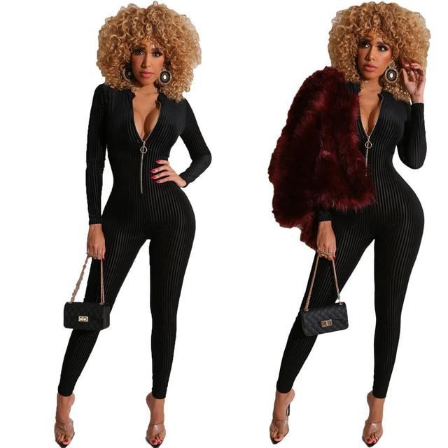 Ribbed Zipper Skinny V Neck Rompers Womens Jumpsuit Fashion Bodycon Sexy Hot Long Sleeve Solid 2020 Spring Jumpsuits 5