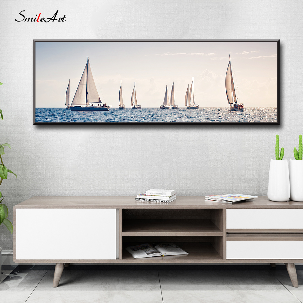 Sailboat Canvas Wall Pictures For Living Room On The Home Decor cuadros
