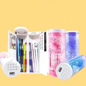 Image 1 - NBX 연필 케이스 비밀 번호 만화 패턴 펜 홀더 대용량 편지지 상자 코딩 된 잠금 홈 오피스 학교 스토리지 가방