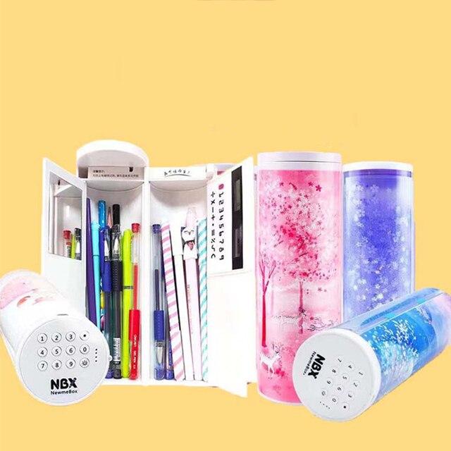 NBX 연필 케이스 비밀 번호 만화 패턴 펜 홀더 대용량 편지지 상자 코딩 된 잠금 홈 오피스 학교 스토리지 가방