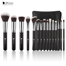 DUcare 15Pcs Makeup Brushes Set Goat Hair Synthetic Hair Make Up Brush Professional Cosmetics Kit with Bag hair cosmetics