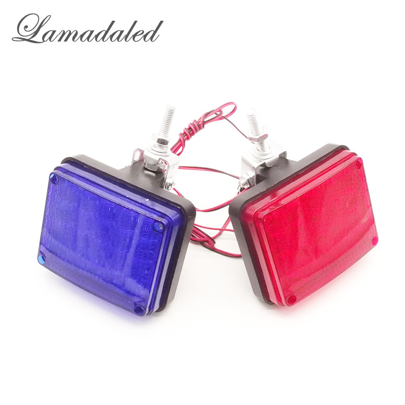 DC12V red blue square 40LED high Bright police motorcycle motorbike front strobe lights flash warning lamp