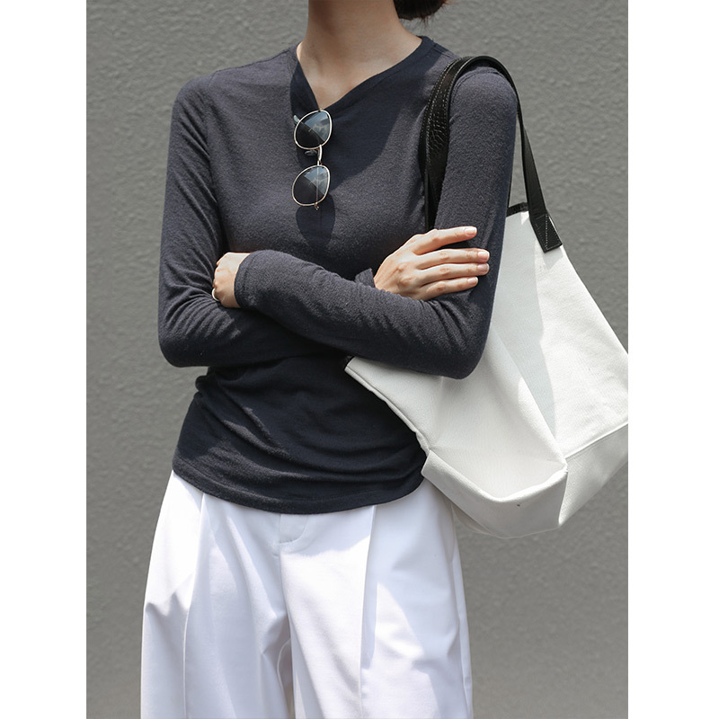 Crew Neck Tencel Tops Women Basic Wool Blends Knitted Pullover Top