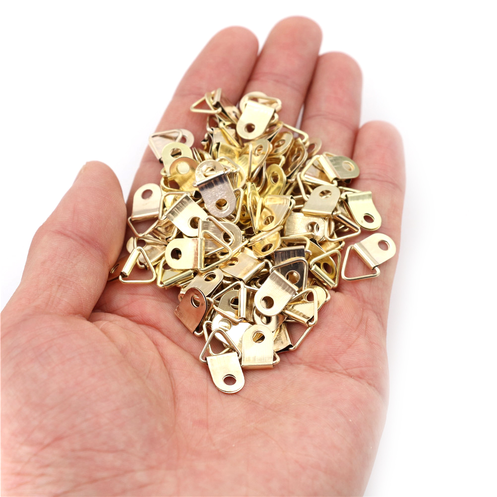 100pcs Golden D-Ring Hanging Picture Oil Painting Mirror Frame Hooks Hangers