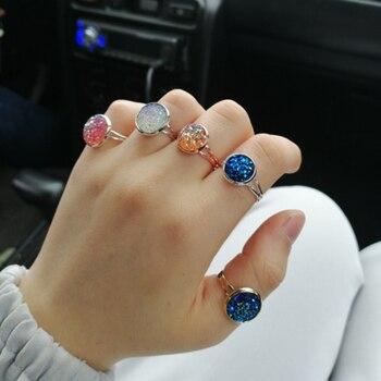 Women Adjustable Druzy Quartz Rings Fashion Wedding Engagement Multiple Silver Couple Rhinestone Opening Finger Ring Rose Gold 4