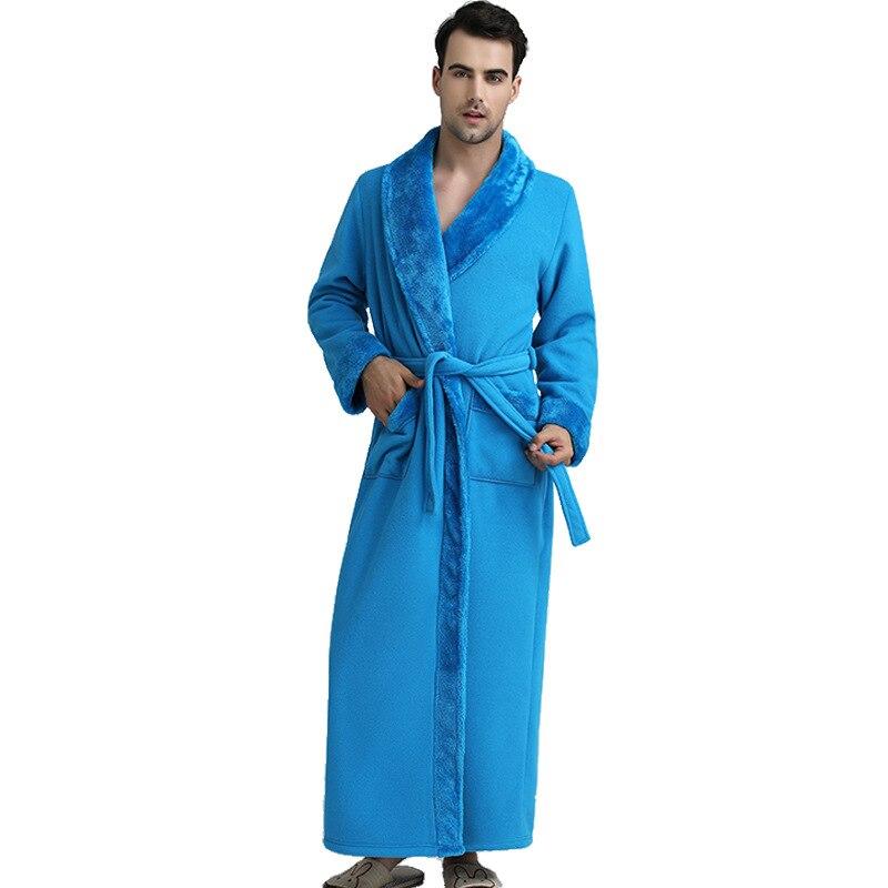 Men Long Flannel Warm Robe Gown Winter NEW Kimono Bathrobe Casual  Night Gown Full Sleeve Sleepwear Loose Nightwear