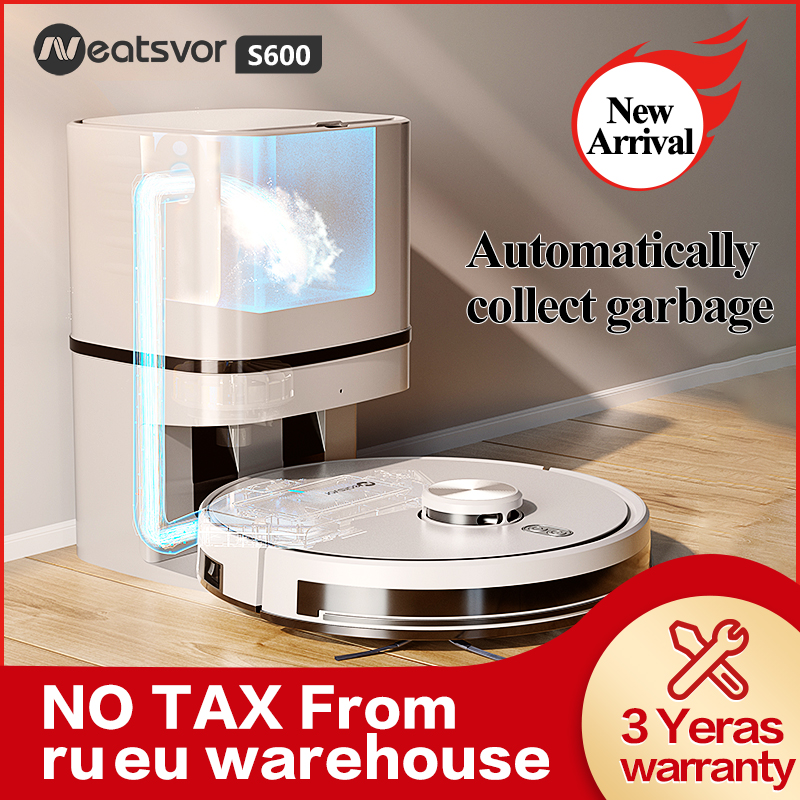 Neatsvor S600 Robot Vacuum Cleaner Laser Navigation 4000pa Automatic Dust Recovery Sweeper Wet Washing Carpet cleaner for Home