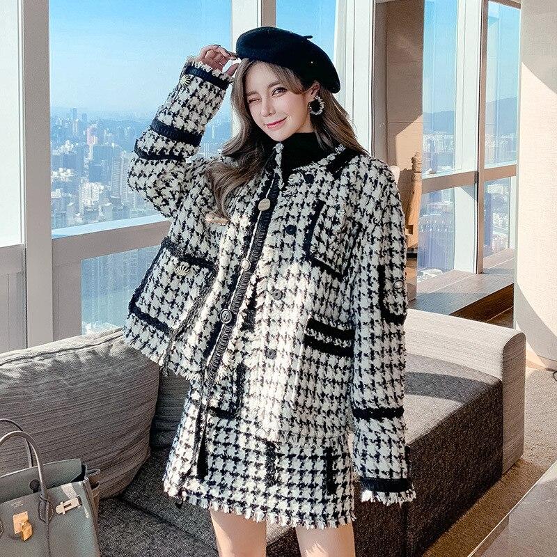 Zhou Dongyu's same autumn and winter celebrity temperament suit thousand bird lattice tweed jacket and short skirt