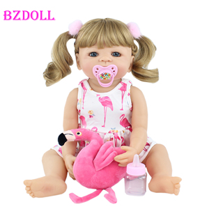 55cm Full Silicone Reborn Baby Doll Toy For Girl Blonde Princess Toddler Alive Babies Realistic Classic Boneca Play House Toy(China)