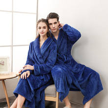 New Lovers Winter Long Bathrobe Coral Fleece Warm Women Men Nightdress Night Thicken Bath Robes Flannel Dressing Gowns