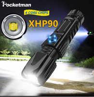 Super Helle XHP90.2 LED Taschenlampe XLamp Taktische wasserdichte Taschenlampe Smart chip control Mit boden angriff kegel USB aufladbare
