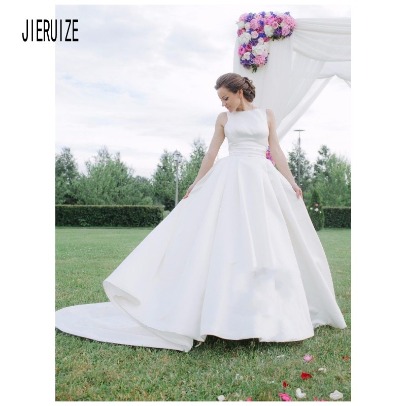 JIERUIZE Elegant Wedding Dress Jewel Neck Backless With Draped Simple A Line Sleeveless Satin Wedding Gowns Robe De Mariee